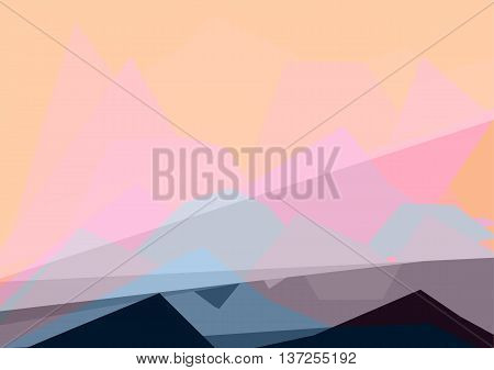 Colorful luminosity geometric abstract landscape. Trendy color palette. EPS 10 vector