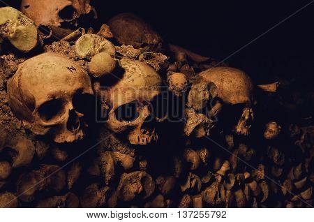 Skulls catacombs under the streets of Paris