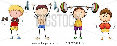 Many people doing weightlifting illustration