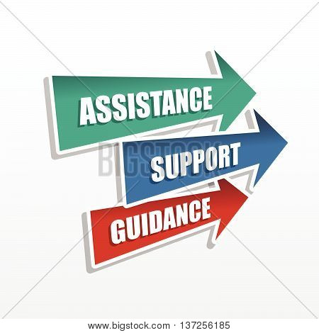 assistance, support, guidance in arrows, business concept words, flat design, vector