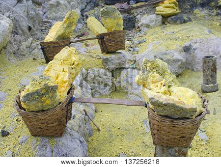 Basket Full Of Sulfur Nuggets Atop