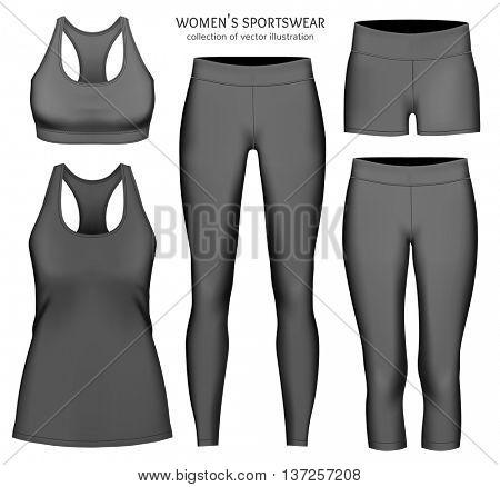 Women's sportswear. Collection of vector illustration. Fully editable handmade mesh.