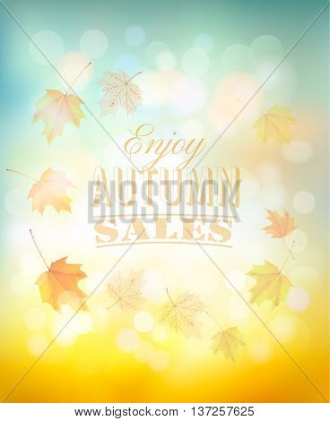 Enjoy autumn sales background with colorful leaves. Vector.