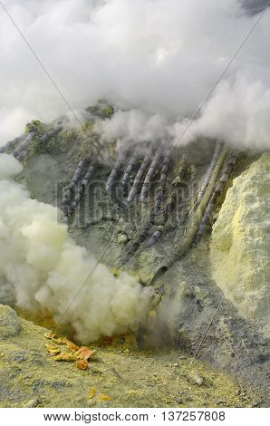 Extracting Sulphur Inside Kawa Ijen Crater