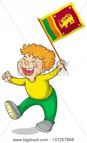 Little boy holding flag of Sri Lanka illustration