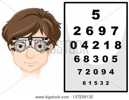 Man wearing eye test glasses and reading chart illustration