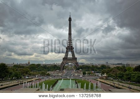 View from the Trocadero at the Eiffel Tower