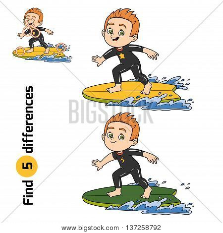 Find Differences, A Boy Riding A Surf