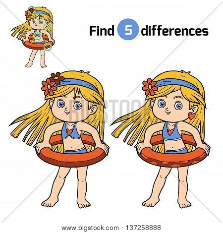 Find Differences. Little Girl With Lifebuoy
