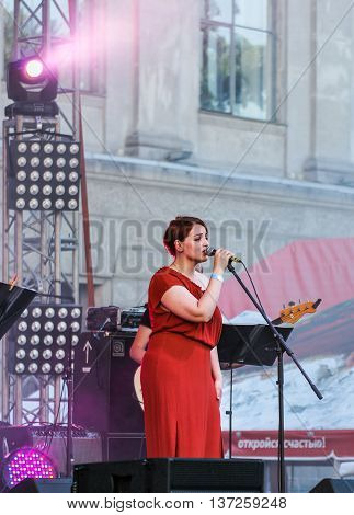St. Petersburg, Russia - 2 July, Soloist on stage, 2 July, 2016. Annual international festival of jazz and blues in St. Petersburg.