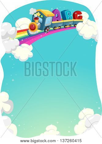 Illustration of a Locomotive Train Cruising on a Rainbow Track