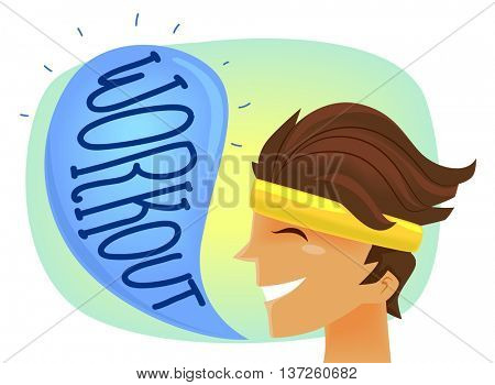 Illustration of a Man Wearing a Headband Telling People to Work Out