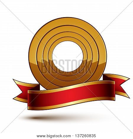 Design vector golden ring template with red curvy ribbon 3d round aristocratic badge isolated on white background. Eps8 sophisticated escutcheon.