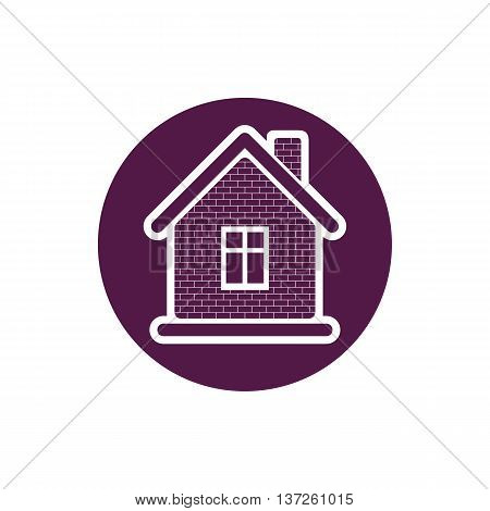 Property symbol house constructed with bricks. Real estate vector emblem.
