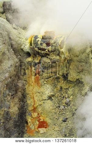 Extracting sulphur inside Kawah Ijen crater Indonesia