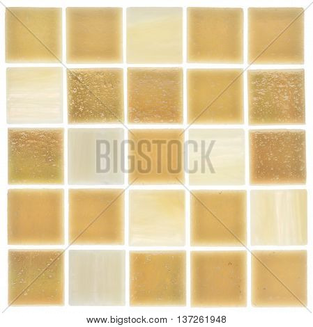 beautiful satin square glass mosaic light and sandy with light blurred stripes scattered on a white background isolated