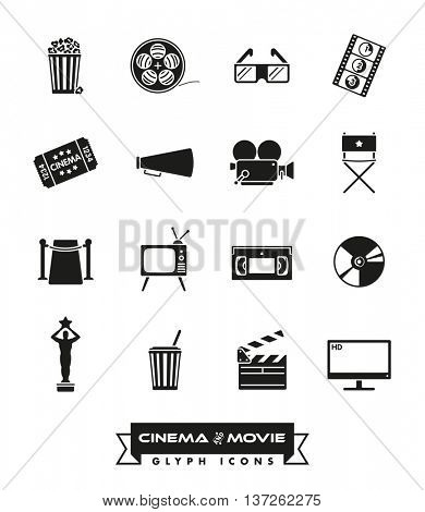 Cinema and movie related vector icons set. Collection of 16 glyphs.