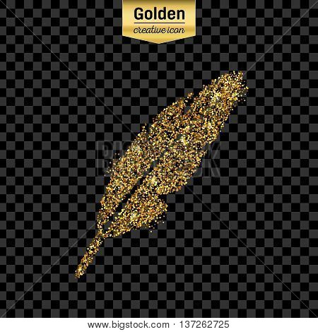 Gold glitter vector icon of goose quill isolated on background. Art creative concept illustration for web, glow light confetti, bright sequins, sparkle tinsel, abstract bling, shimmer dust, foil.