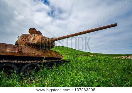 Rusty tank T-34 island Zheltukhina near Vladivostok