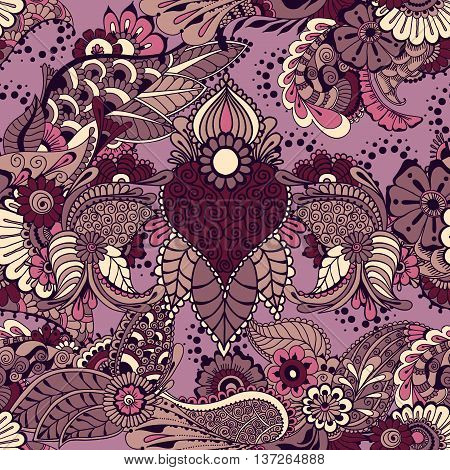 Pattern with traditional indian ornamental design. Floral background with indian ornament. Seamless pattern for your design pattern fills web page backgrounds surface textures.