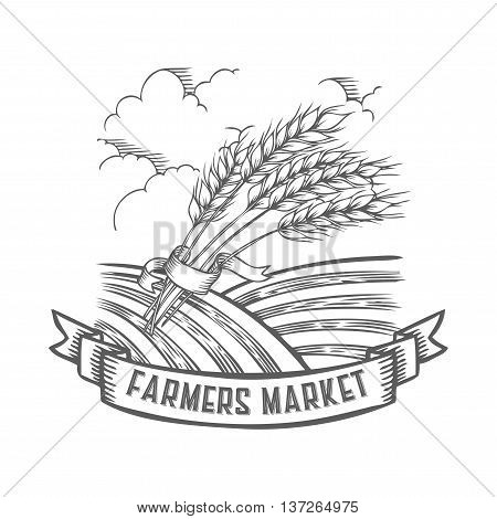 Farmers Market Badge With Wheat, Cereals. Monochrome Vintage Engraving Fresh Organic Bread, Ear, Spi
