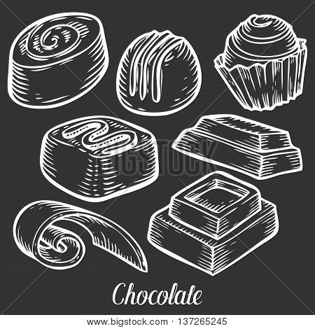 Chocolate Candy Set Truffles Hand Drawn Engraved Illustration. Candy Chocolate Bar Vector Icon, In S