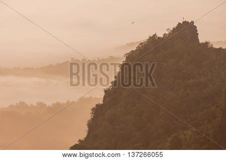 Beautiful Morning With Fog Between Hills At Doi Pha Chu In Si Nan National Park , High Mountain In N