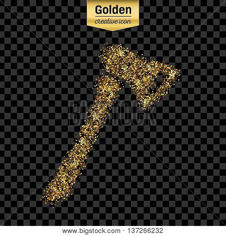 Gold glitter vector icon of axe isolated on background. Art creative concept illustration for web, glow light confetti, bright sequins, sparkle tinsel, abstract bling, shimmer dust, foil.