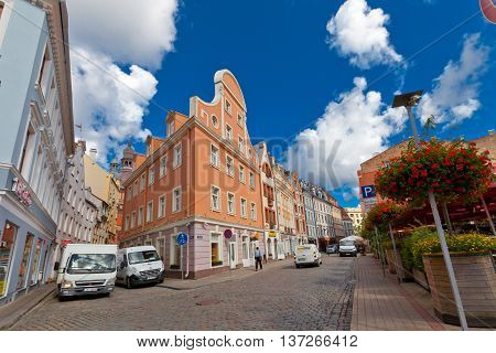 RIGA LATVIA - JULY 05 2016: The crossroad of Tirgonu and Kramu streets in the historic center of Riga Latvia. World Heritage Site of UNESCO