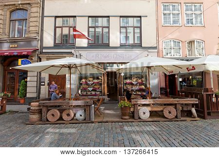 RIGA LATVIA - JULY 05 2016: Famous local bakery Rigensis on Tirgonu Street in the historic center of Riga Latvia. World Heritage Site of UNESCO