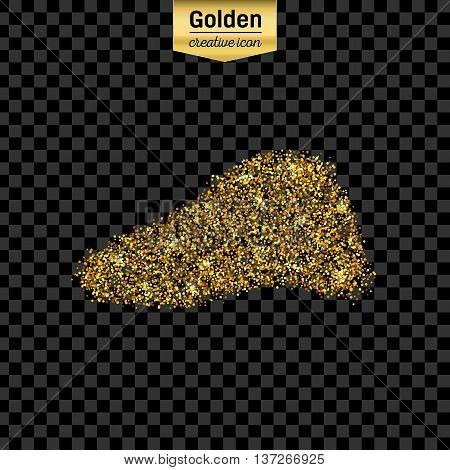 Gold glitter vector icon of liver isolated on background. Art creative concept illustration for web, glow light confetti, bright sequins, sparkle tinsel, abstract bling, shimmer dust, foil.
