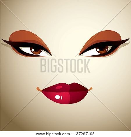 Coquette woman eyes and lips stylish makeup. People negative facial emotions.