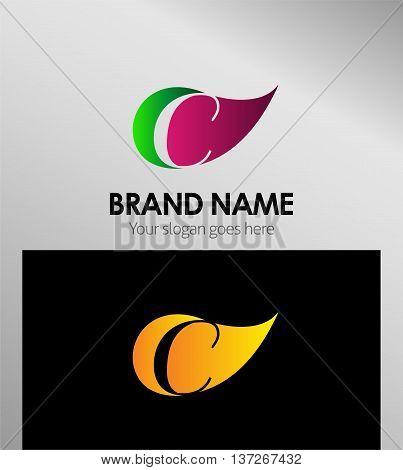 Leaf icon Logo Letter C template design vector