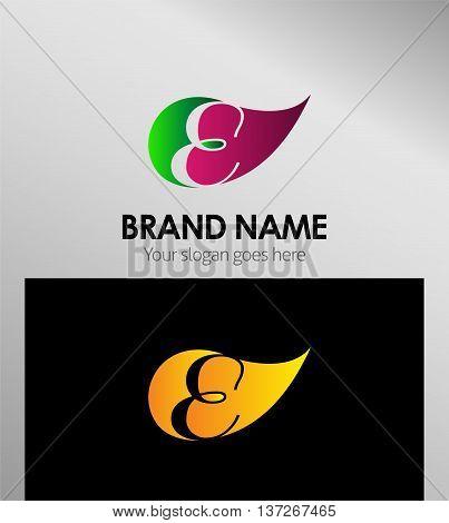 Leaf icon Logo Letter E template design vector