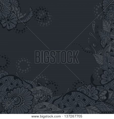 Ornate vector card template with Indian mehndi elements. Hand drawn abstract background. Invitation cards with mehndi elements. Floral ornament. Islam arabic indian ottoman motifs.