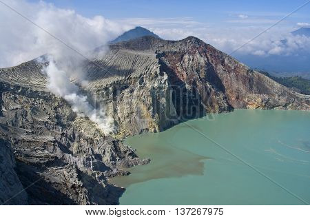 activity adventure area blue bowels bubbles cataclysm cloud crater danger death destroyed dirty earthquake ecology eruption evaporations exotic hell ijen indonesia island java lake lava mud muzzle nature pairs people plateau power seismic show sky smell s