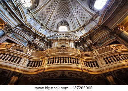 ROME ITALY - MAY 22 2016: baroque Pipe organ in the Saint Mary of the Prayer and Death Church