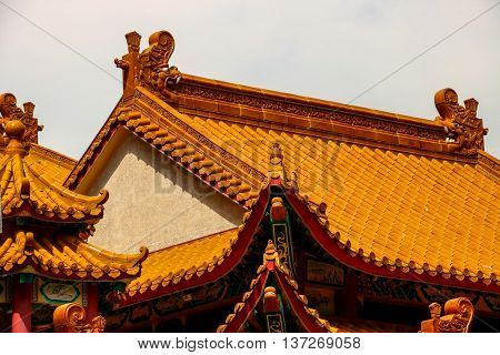 Chinese temple and pagoda roof tiling detail