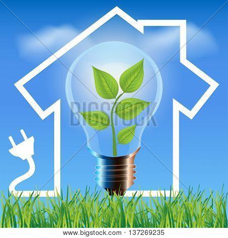Environmental friendly energy.Energy saving concept Eco house.Think green concept