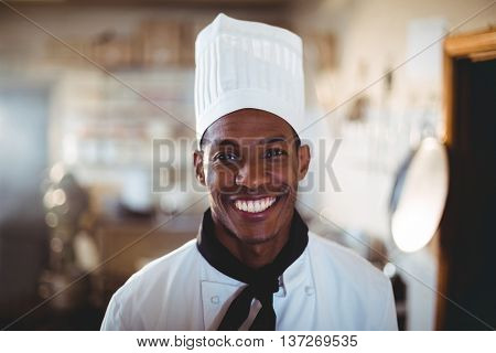 Portrait of smiling head chef standing in commercial kitchen