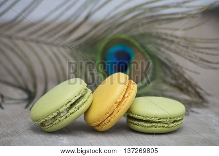 French dessert macaron decorated with pheasant feathers . Almond cookies.
