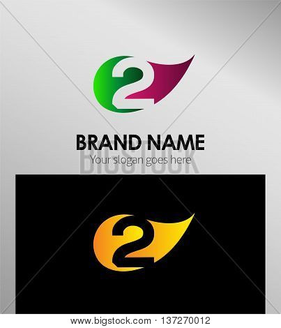 Vector sign Eco number two logo template design vector