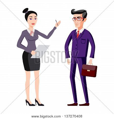 Full Length Picture Of A Young Business Man And Woman Walking Forward With A Briefcase Isolated On W