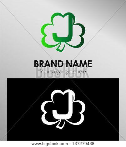 Letter J logo Clover icon  Letter J logo Clover icon