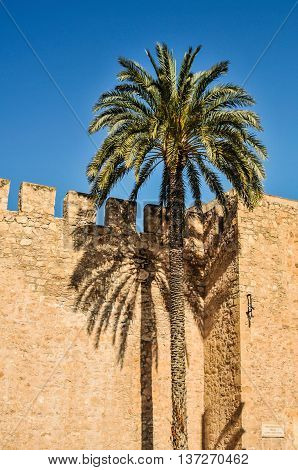 Ancient Wall Of Altamira Castle In Elche, Alicante Province, Spain