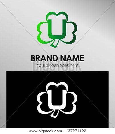 Alphabetical Clover Logo Design Concepts. Letter U