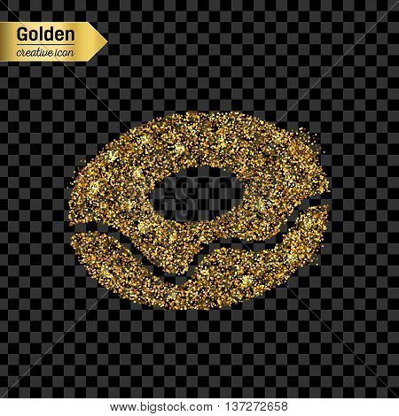 Gold glitter vector icon of donut isolated on background. Art creative concept illustration for web, glow light confetti, bright sequins, sparkle tinsel, abstract bling, shimmer dust, foil.