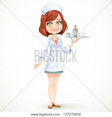 Cute Girl Nurse In White Medical Coat With A Tray With A Glass O