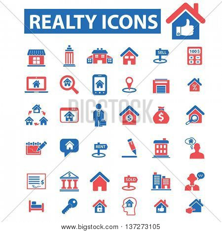 realty icons, signs vector