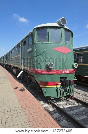 MOSCOW, RUSSIA - JUNE 23, 2016: Museum of Railway Transport of the Moscow railway soviet cargo diesel locomotive with electric transmission TE3-5151 built in 1964